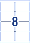 99,1 x 67,7 mm méretű nyomtatható öntapadós csomag címke A4-es lapon.