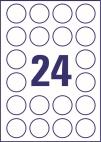 40 mm átmérőjű öntapadó címke A4-es lapon.