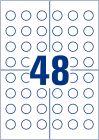 20 mm átmérőjű nyomtatható öntapadós időjárásálló eltávolíthatatlan felülvizsgálati címke A4-es lapon.