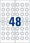 20 mm átmérőjű nyomtatható öntapadós időjárásálló biztonsági felülvizsgálati címke A4-es lapon.