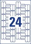 60 x 40 mm méretű nyomtatható öntapadós időjárásálló kábeljelölő címke A4-es lapon.