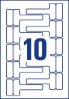 110 x 49 mm méretű nyomtatható öntapadós időjárásálló kábeljelölő címke A4-es lapon.
