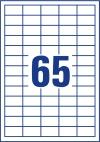 38 x 21,2 mm méretű nyomtatható öntapadós etikett A4-es lapon.