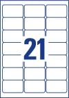 63,5 x 38,1 mm méretű öntapadó címke A4-es lapon.