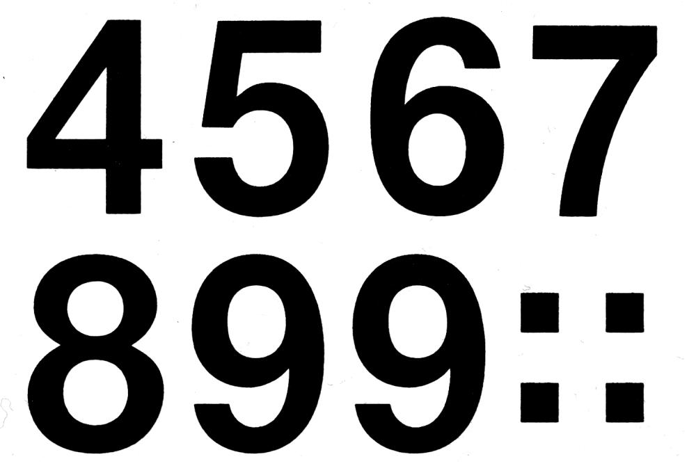 Fekete színű időjárásálló öntapadó számmatrica