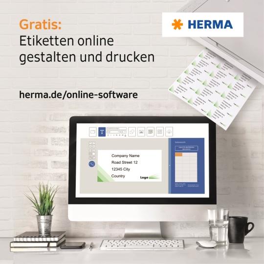 Ingyenes online program Herma címkék megtervezéséhez és kinyomtatásához, valamint ingyenesen letölthető sablonok.