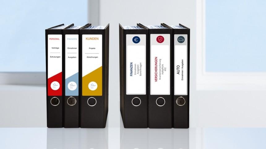 Nyomtatható, öntapadós iratrendező címke