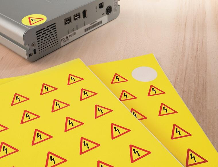 Figyelemfelhívó időjárásálló nyomtatható címkék.